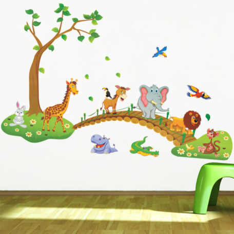 3d-cartoon-jungle-wild-animal-tree-bridge-lion-giraffe-elephant-birds-flowers-wall-stickers-for-kids-jpg_640x640