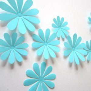 3D Flower Set Turquoise